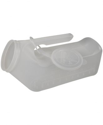 Medgen Male Translucent Urinal with Hanging Lid